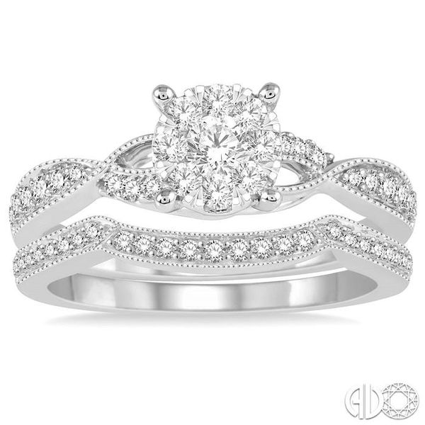 5/8 Ctw Round Cut Diamond Lovebright Bridal Set with 1/2 Ctw Engagement Ring and 1/6 Ctw Wedding Band in 14K White Gold Image 2 Coughlin Jewelers St. Clair, MI