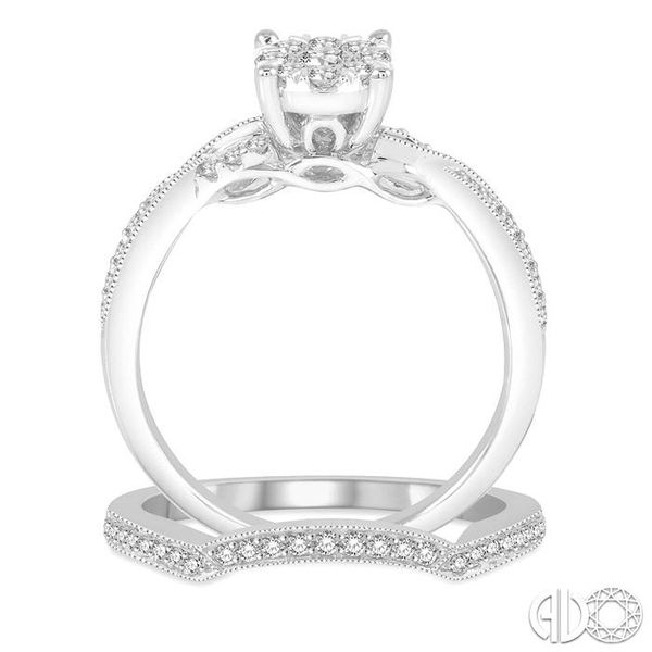 5/8 Ctw Round Cut Diamond Lovebright Bridal Set with 1/2 Ctw Engagement Ring and 1/6 Ctw Wedding Band in 14K White Gold Image 3 Coughlin Jewelers St. Clair, MI