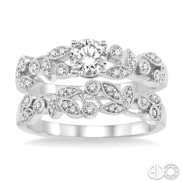 3/4 Ctw Diamond Wedding Set with 1/2 Ctw Round Cut Engagement Ring and 1/6 Ctw Wedding Band in 14K White Gold Image 2 Coughlin Jewelers St. Clair, MI