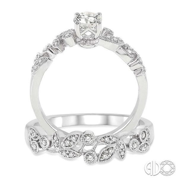 3/4 Ctw Diamond Wedding Set with 1/2 Ctw Round Cut Engagement Ring and 1/6 Ctw Wedding Band in 14K White Gold Image 3 Coughlin Jewelers St. Clair, MI