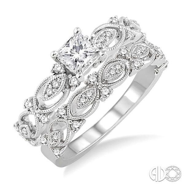 3/4 Ctw Diamond Wedding Set with 5/8 Ctw Princess Cut Engagement Ring and 1/6 Ctw Wedding Band in 14K White Gold Coughlin Jewelers St. Clair, MI