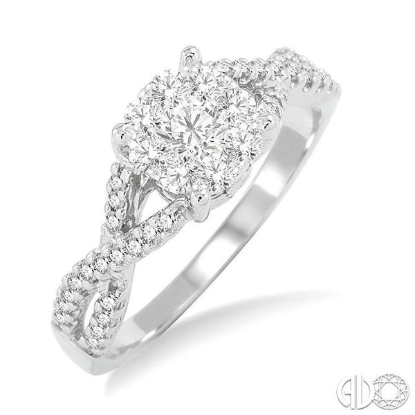 5/8 Ctw Lovebright Round Cut Diamond Engagement Ring in 14K White Gold Coughlin Jewelers St. Clair, MI