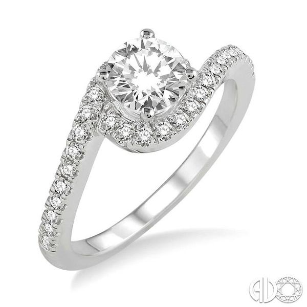3/4 Ctw Diamond Engagement Ring with 1/2 Ct Round Cut Center Stone in 14K White Gold Coughlin Jewelers St. Clair, MI