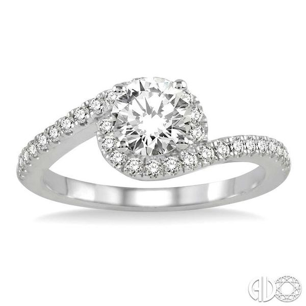 3/4 Ctw Diamond Engagement Ring with 1/2 Ct Round Cut Center Stone in 14K White Gold Image 2 Coughlin Jewelers St. Clair, MI