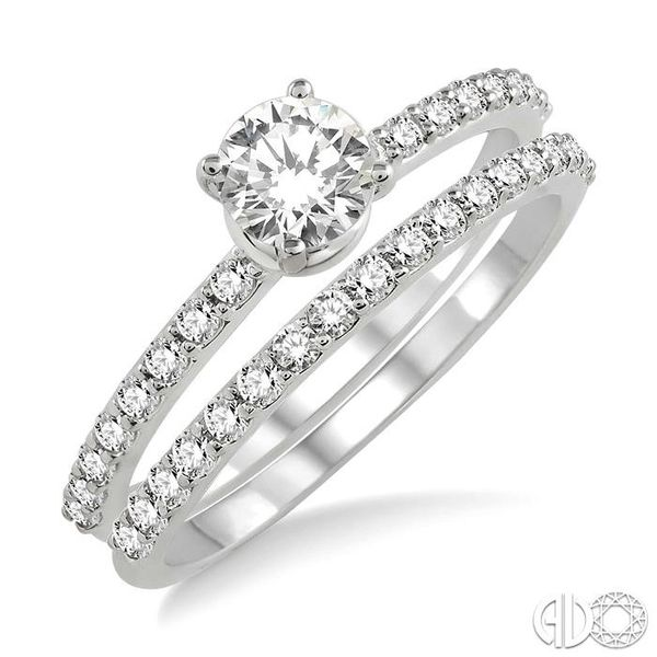 1 Ctw Diamond Wedding Set with 3/4 Ctw Round Cut Engagement Ring and 1/3 Ctw Wedding Band in 14K White Gold Coughlin Jewelers St. Clair, MI