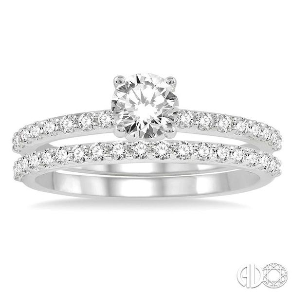 1 Ctw Diamond Wedding Set with 3/4 Ctw Round Cut Engagement Ring and 1/3 Ctw Wedding Band in 14K White Gold Image 2 Coughlin Jewelers St. Clair, MI