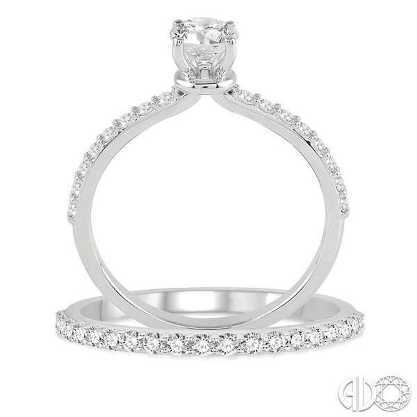 1 Ctw Diamond Wedding Set with 3/4 Ctw Round Cut Engagement Ring and 1/3 Ctw Wedding Band in 14K White Gold Image 3 Coughlin Jewelers St. Clair, MI