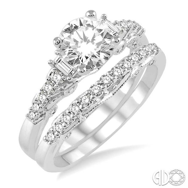 1 1/3 Ctw Diamond Wedding Set with 1 1/10 Ctw Round Cut Engagement Ring and 1/4 Ctw Wedding Band in 14K White Gold Coughlin Jewelers St. Clair, MI