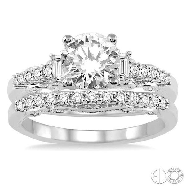 1 1/3 Ctw Diamond Wedding Set with 1 1/10 Ctw Round Cut Engagement Ring and 1/4 Ctw Wedding Band in 14K White Gold Image 2 Coughlin Jewelers St. Clair, MI