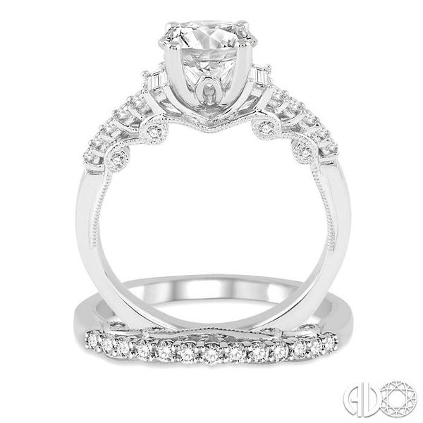 1 1/3 Ctw Diamond Wedding Set with 1 1/10 Ctw Round Cut Engagement Ring and 1/4 Ctw Wedding Band in 14K White Gold Image 3 Coughlin Jewelers St. Clair, MI