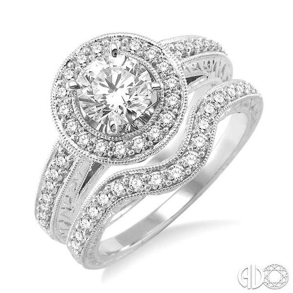 1 1/4 Ctw Diamond Wedding Set with 1 Ctw Round Cut Engagement Ring and 1/4 Ctw Wedding Band in 14K White Gold Coughlin Jewelers St. Clair, MI