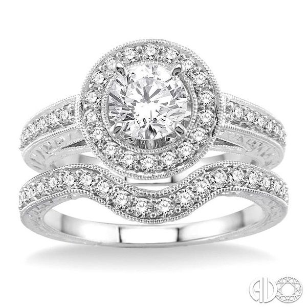 1 1/4 Ctw Diamond Wedding Set with 1 Ctw Round Cut Engagement Ring and 1/4 Ctw Wedding Band in 14K White Gold Image 2 Coughlin Jewelers St. Clair, MI