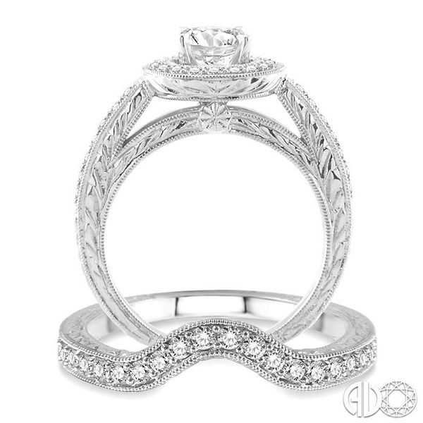 1 1/4 Ctw Diamond Wedding Set with 1 Ctw Round Cut Engagement Ring and 1/4 Ctw Wedding Band in 14K White Gold Image 3 Coughlin Jewelers St. Clair, MI