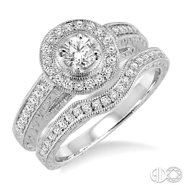 3/4 Ctw Diamond Wedding Set with 5/8 Ctw Round Cut Engagement Ring and 1/6 Ctw Wedding Band in 14K White Gold Coughlin Jewelers St. Clair, MI