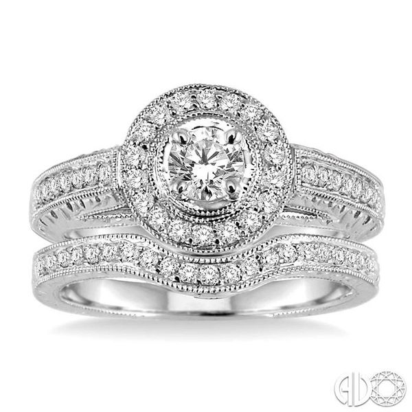 3/4 Ctw Diamond Wedding Set with 5/8 Ctw Round Cut Engagement Ring and 1/6 Ctw Wedding Band in 14K White Gold Image 2 Coughlin Jewelers St. Clair, MI