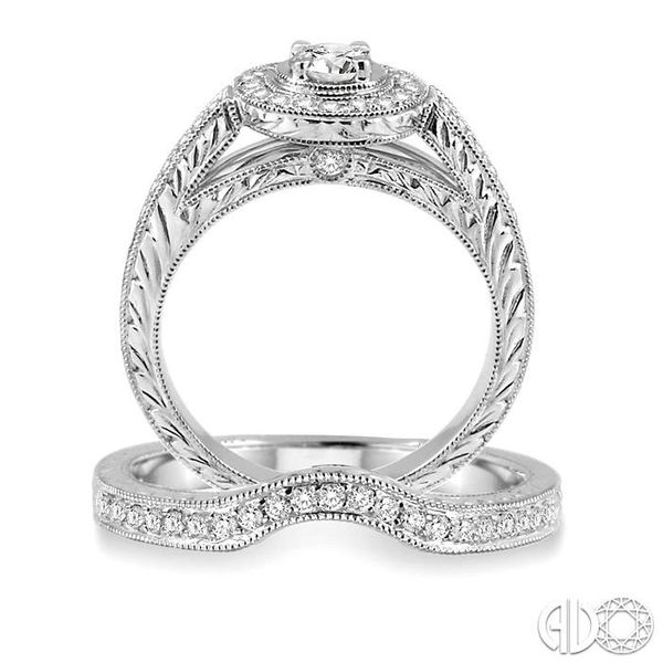 3/4 Ctw Diamond Wedding Set with 5/8 Ctw Round Cut Engagement Ring and 1/6 Ctw Wedding Band in 14K White Gold Image 3 Coughlin Jewelers St. Clair, MI
