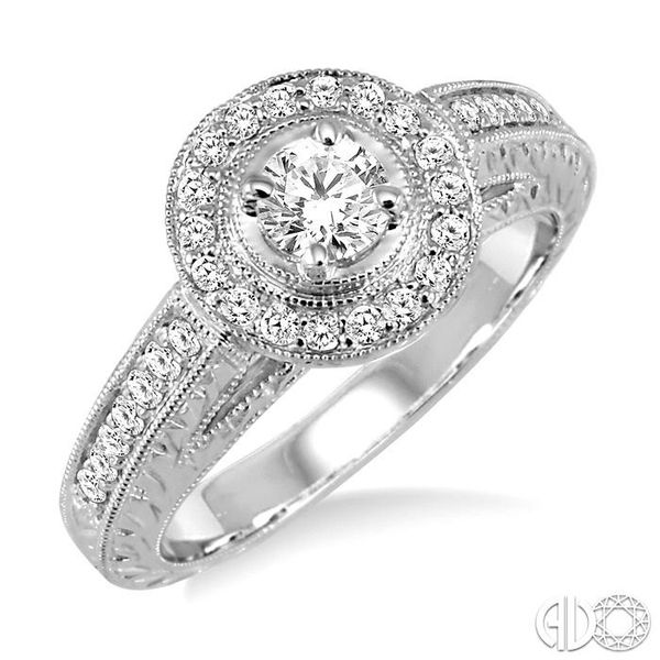 5/8 Ctw Diamond Engagement Ring with 1/3 Ct Round Cut Center Stone in 14K White Gold Coughlin Jewelers St. Clair, MI