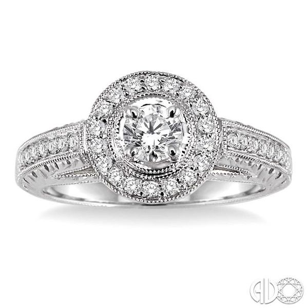 5/8 Ctw Diamond Engagement Ring with 1/3 Ct Round Cut Center Stone in 14K White Gold Image 2 Coughlin Jewelers St. Clair, MI