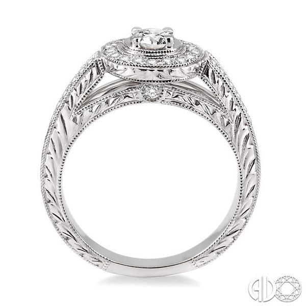 5/8 Ctw Diamond Engagement Ring with 1/3 Ct Round Cut Center Stone in 14K White Gold Image 3 Coughlin Jewelers St. Clair, MI