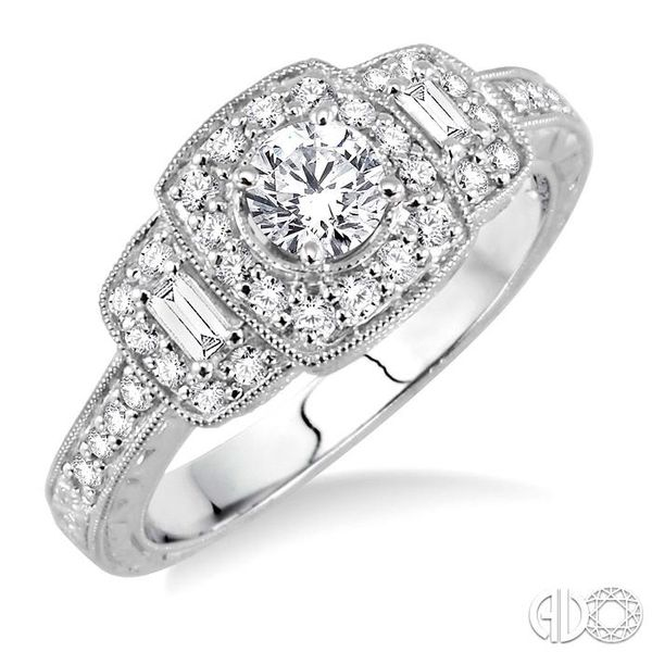 3/4 Ctw Diamond Engagement Ring with 1/3 Ct Round Cut Center Stone in 14K White Gold Coughlin Jewelers St. Clair, MI