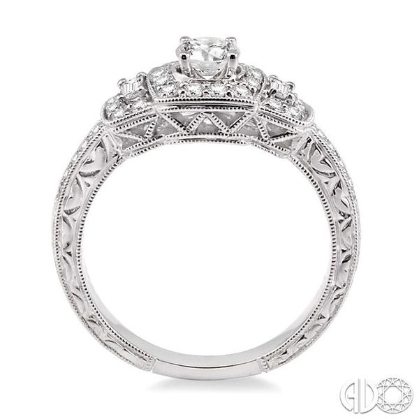 3/4 Ctw Diamond Engagement Ring with 1/3 Ct Round Cut Center Stone in 14K White Gold Image 3 Coughlin Jewelers St. Clair, MI