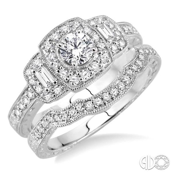 7/8 Ctw Diamond Wedding Set with 3/4 Ctw Round Cut Engagement Ring and 1/6 Ctw Wedding Band in 14K White Gold Coughlin Jewelers St. Clair, MI