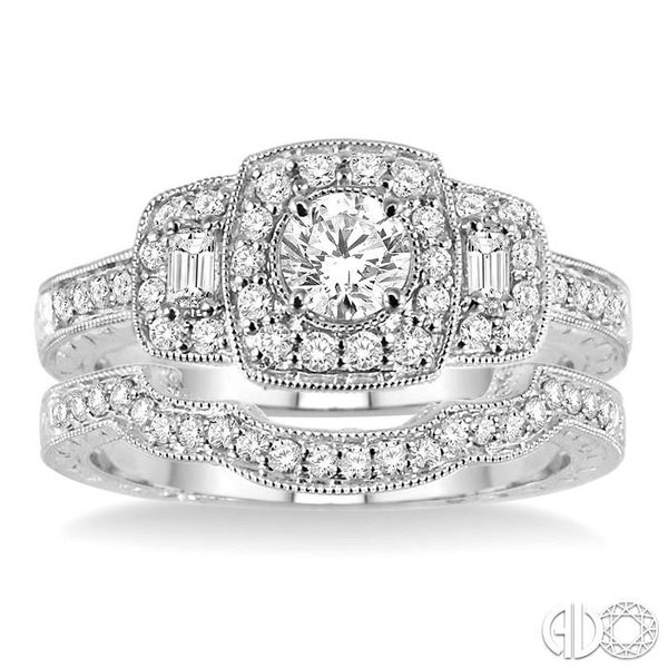 7/8 Ctw Diamond Wedding Set with 3/4 Ctw Round Cut Engagement Ring and 1/6 Ctw Wedding Band in 14K White Gold Image 2 Coughlin Jewelers St. Clair, MI