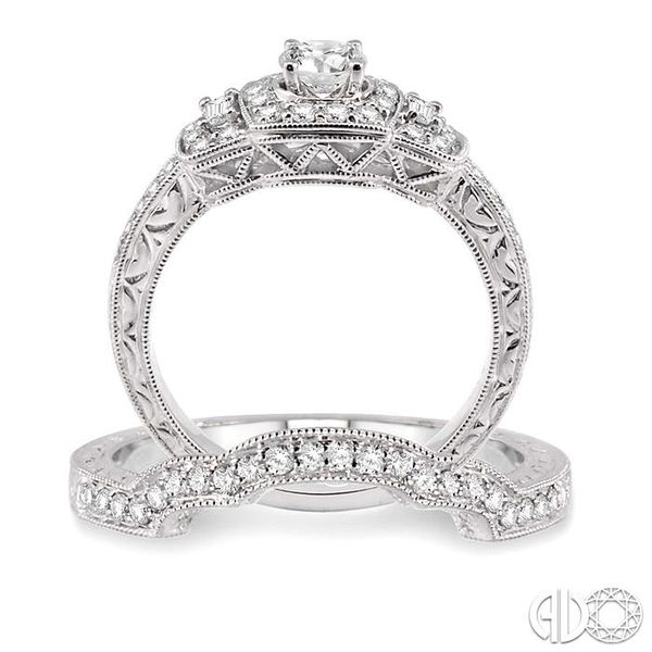 7/8 Ctw Diamond Wedding Set with 3/4 Ctw Round Cut Engagement Ring and 1/6 Ctw Wedding Band in 14K White Gold Image 3 Coughlin Jewelers St. Clair, MI