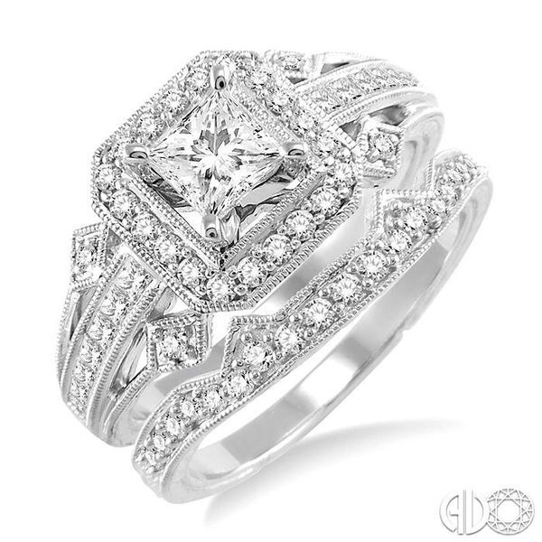 1 1/5 Ctw Diamond Wedding Set with 1 Ctw Princess Cut Engagement Ring and 1/5 Ctw Wedding Band in 14K White Gold Coughlin Jewelers St. Clair, MI