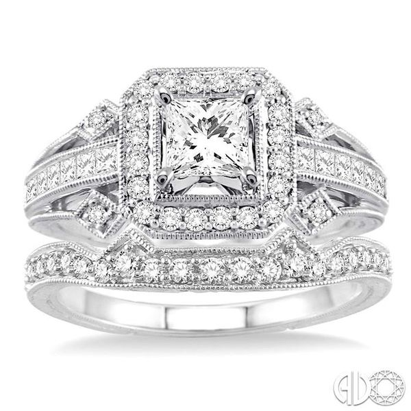 1 1/5 Ctw Diamond Wedding Set with 1 Ctw Princess Cut Engagement Ring and 1/5 Ctw Wedding Band in 14K White Gold Image 2 Coughlin Jewelers St. Clair, MI