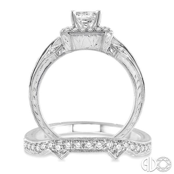 1 1/5 Ctw Diamond Wedding Set with 1 Ctw Princess Cut Engagement Ring and 1/5 Ctw Wedding Band in 14K White Gold Image 3 Coughlin Jewelers St. Clair, MI