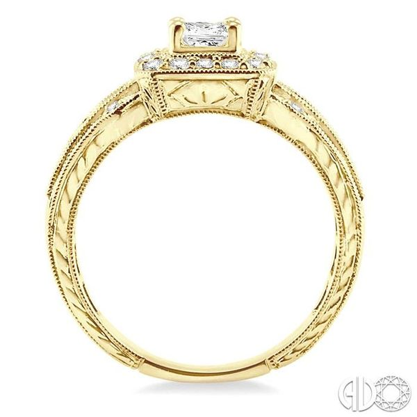 3/4 Ctw Diamond Engagement Ring with 1/3 Ct Princess Cut Center Stone in 14K Yellow Gold Image 3 Coughlin Jewelers St. Clair, MI