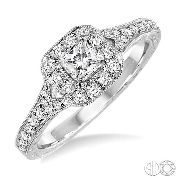 5/8 Ctw Diamond Engagement Ring with 1/4 Ct Princess Cut Center Stone in 14K White Gold Coughlin Jewelers St. Clair, MI
