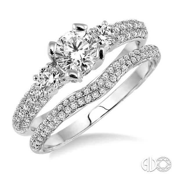 1 Ctw Diamond Wedding Set with 3/4 Ctw Round Cut Engagement Ring and 1/4 Ctw Wedding Band in 14K White Gold Coughlin Jewelers St. Clair, MI