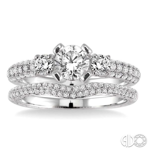 1 Ctw Diamond Wedding Set with 3/4 Ctw Round Cut Engagement Ring and 1/4 Ctw Wedding Band in 14K White Gold Image 2 Coughlin Jewelers St. Clair, MI