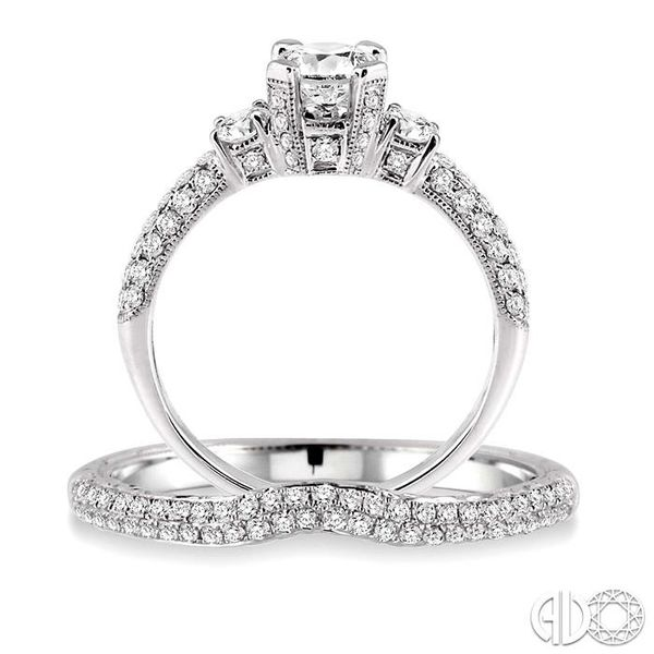 1 Ctw Diamond Wedding Set with 3/4 Ctw Round Cut Engagement Ring and 1/4 Ctw Wedding Band in 14K White Gold Image 3 Coughlin Jewelers St. Clair, MI