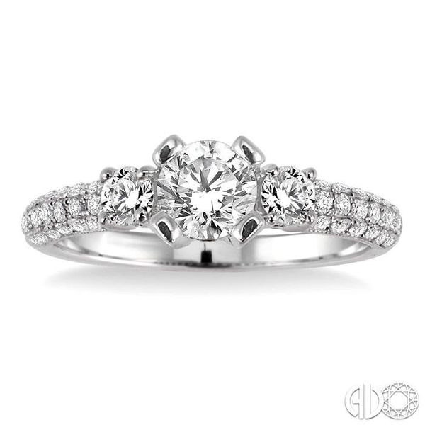 3/4 Ctw Diamond Engagement Ring with 1/3 Ct Round Cut Center Stone in 14K White Gold Image 2 Coughlin Jewelers St. Clair, MI