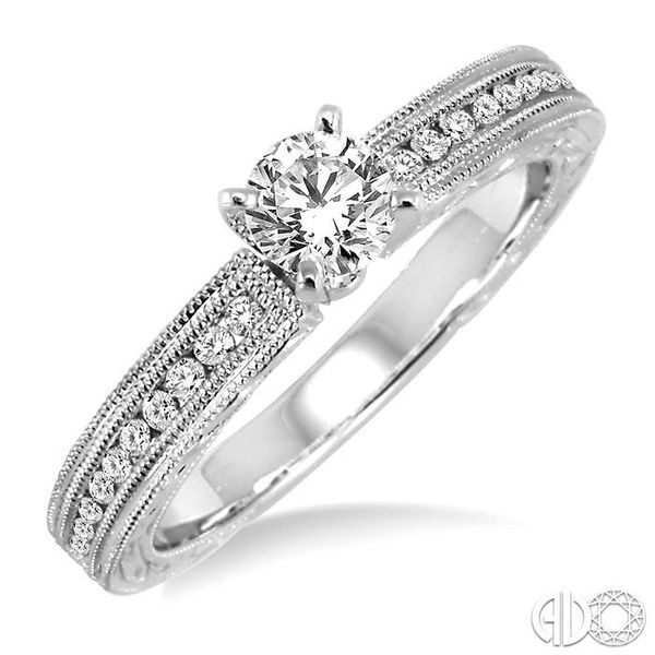 1/2 Ctw Diamond Engagement Ring with 1/3 Ct Round Cut Center Stone in 14K White Gold Coughlin Jewelers St. Clair, MI