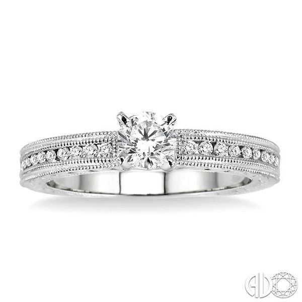 1/2 Ctw Diamond Engagement Ring with 1/3 Ct Round Cut Center Stone in 14K White Gold Image 2 Coughlin Jewelers St. Clair, MI