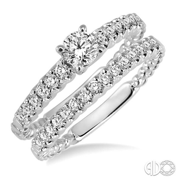 3/4 Ctw Diamond Wedding Set with 1/2 Ctw Round Cut Engagement Ring and 1/4 Ctw Wedding Band in 14K White Gold Coughlin Jewelers St. Clair, MI