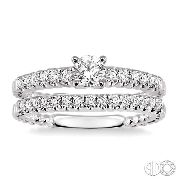3/4 Ctw Diamond Wedding Set with 1/2 Ctw Round Cut Engagement Ring and 1/4 Ctw Wedding Band in 14K White Gold Image 2 Coughlin Jewelers St. Clair, MI