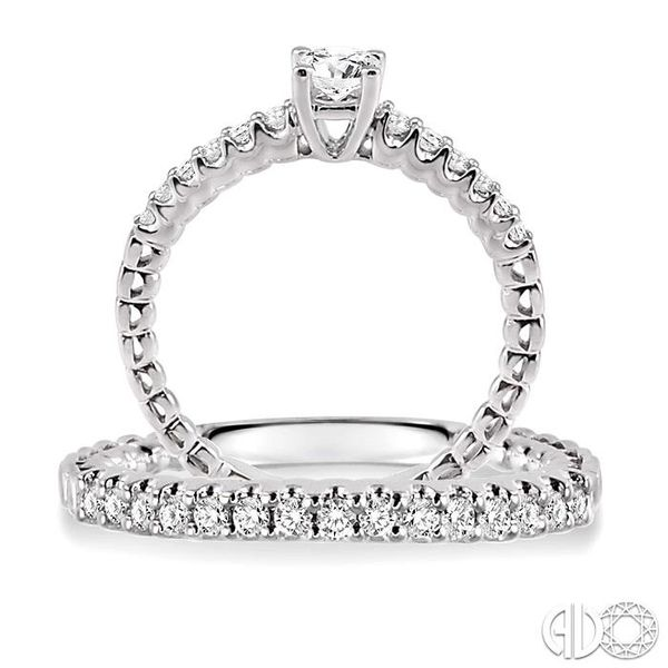 3/4 Ctw Diamond Wedding Set with 1/2 Ctw Round Cut Engagement Ring and 1/4 Ctw Wedding Band in 14K White Gold Image 3 Coughlin Jewelers St. Clair, MI