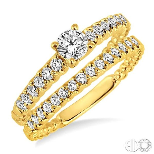 3/4 Ctw Diamond Wedding Set with 1/2 Ctw Round Cut Engagement Ring and 1/4 Ctw Wedding Band in 14K Yellow Gold Coughlin Jewelers St. Clair, MI