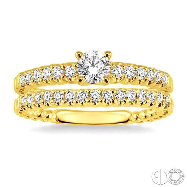 3/4 Ctw Diamond Wedding Set with 1/2 Ctw Round Cut Engagement Ring and 1/4 Ctw Wedding Band in 14K Yellow Gold Image 2 Coughlin Jewelers St. Clair, MI