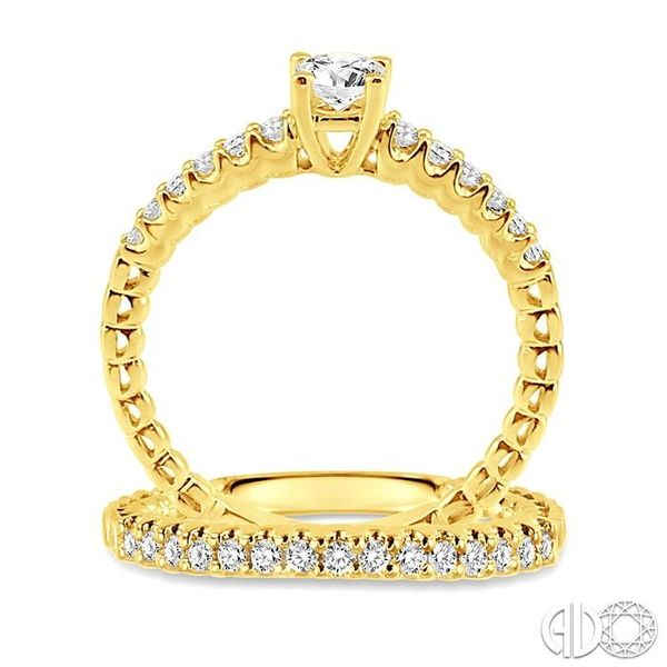 3/4 Ctw Diamond Wedding Set with 1/2 Ctw Round Cut Engagement Ring and 1/4 Ctw Wedding Band in 14K Yellow Gold Image 3 Coughlin Jewelers St. Clair, MI