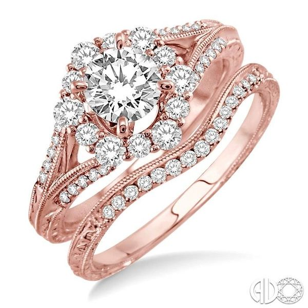 1 1/10 Ctw Diamond Wedding Set with 1 Ctw Round Cut Engagement Ring and 1/10 Ctw Wedding Band in 14K Rose Gold Coughlin Jewelers St. Clair, MI