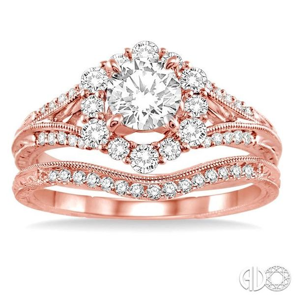 1 1/10 Ctw Diamond Wedding Set with 1 Ctw Round Cut Engagement Ring and 1/10 Ctw Wedding Band in 14K Rose Gold Image 2 Coughlin Jewelers St. Clair, MI