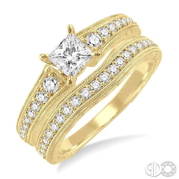 7/8 Ctw Diamond Wedding Set with 5/8 Ctw Princess Cut Engagement Ring and 1/5 Ctw Wedding Band in 14K Yellow Gold Coughlin Jewelers St. Clair, MI