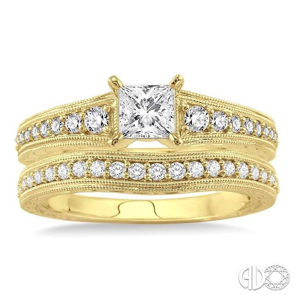 7/8 Ctw Diamond Wedding Set with 5/8 Ctw Princess Cut Engagement Ring and 1/5 Ctw Wedding Band in 14K Yellow Gold Image 2 Coughlin Jewelers St. Clair, MI