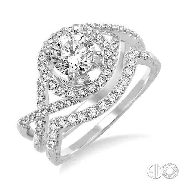1 1/5 Ctw Diamond Wedding Set with 1 Ctw Round Cut Engagement Ring and 1/5 Ctw Wedding Band in 14K White Gold Coughlin Jewelers St. Clair, MI